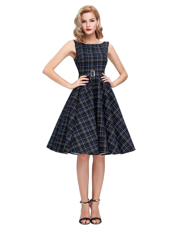 Sleeveless Cotton Vintage Tea Dress With Belt Cute Dresses