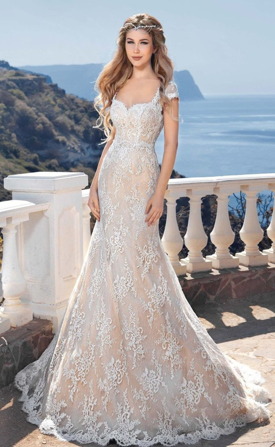 Backless beach wedding gown lace mermaid bride dress for Lace beach wedding dresses