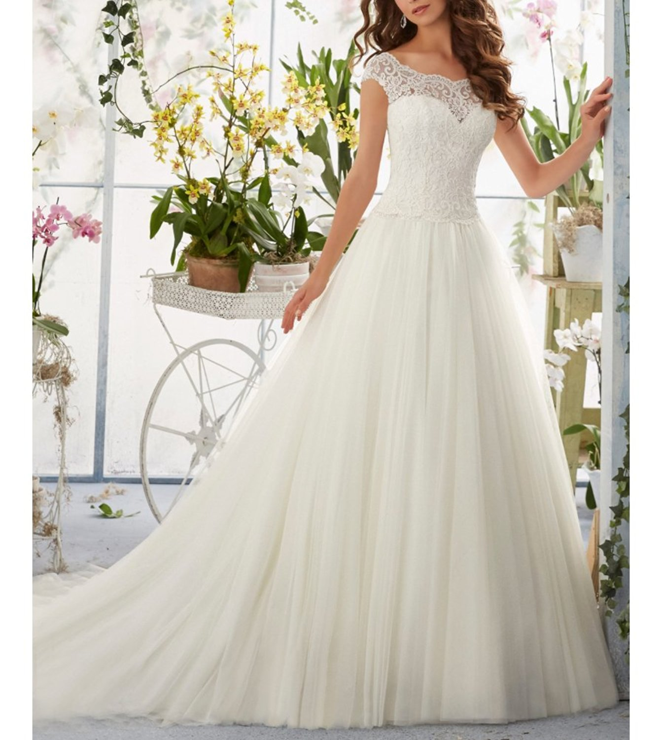 Simple Long A Line Cap Sleeve Train Lace Wedding Dress