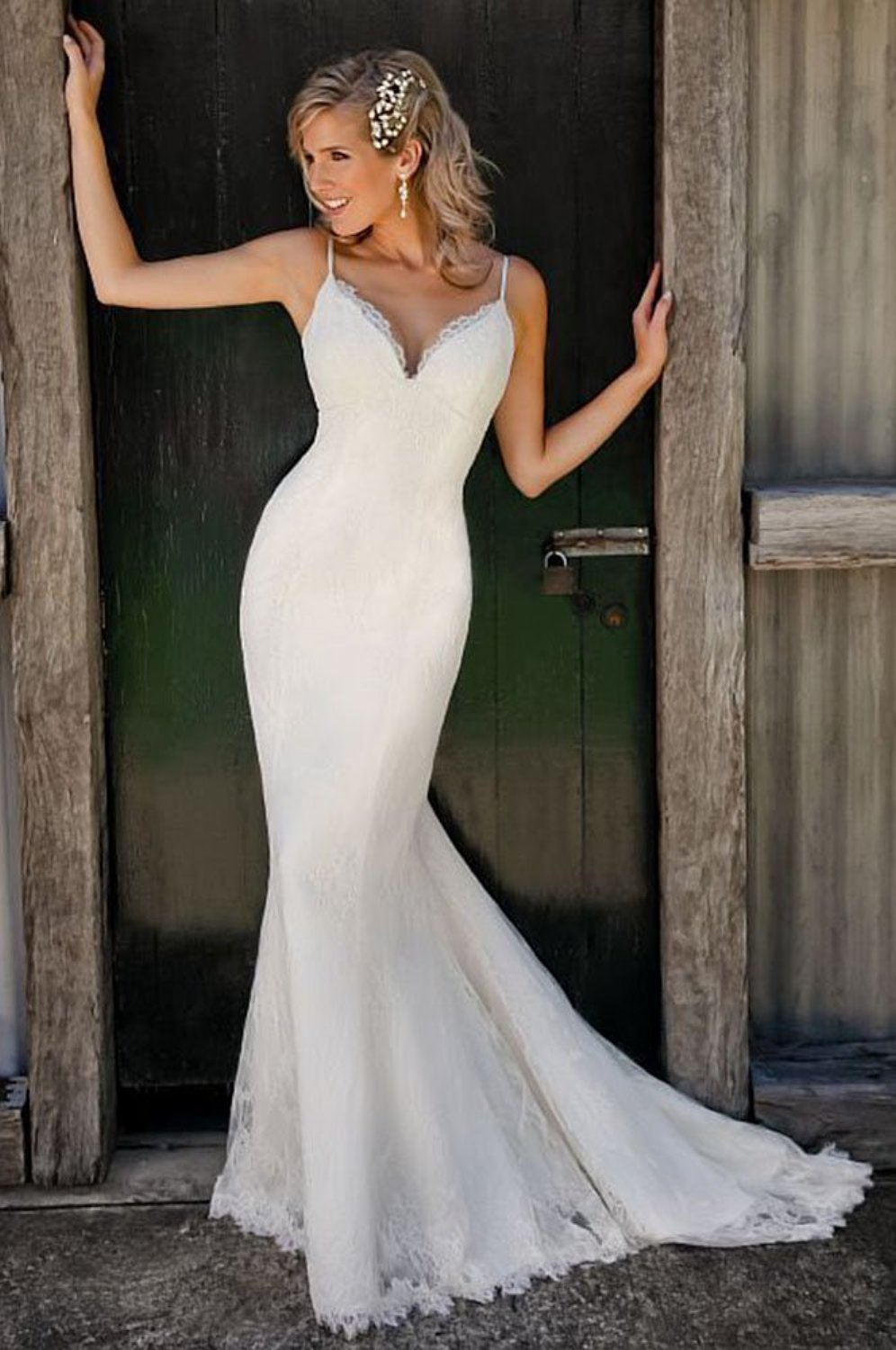 Spaghetti Straps V Neck Lace Mermaid Wedding Dress Cute