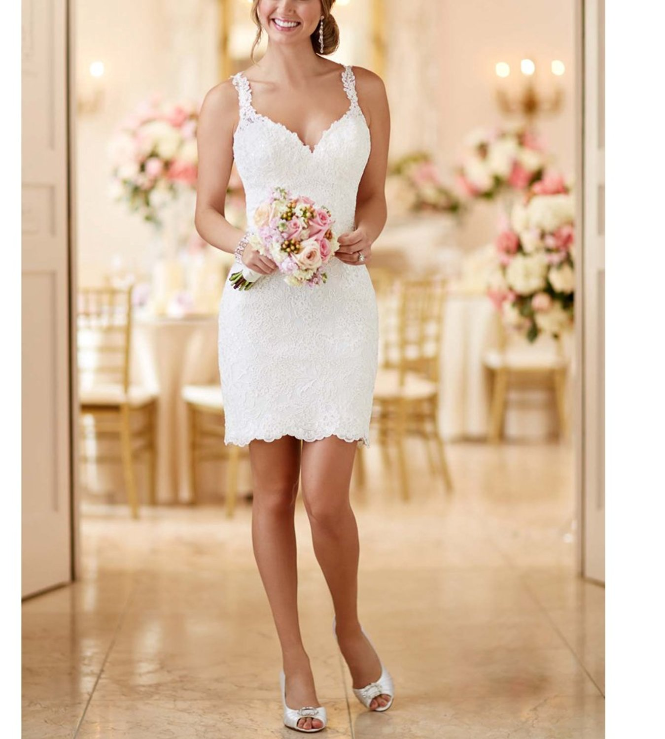Two In One Detachable Train Lace Wedding Dresses - Cute Dresses