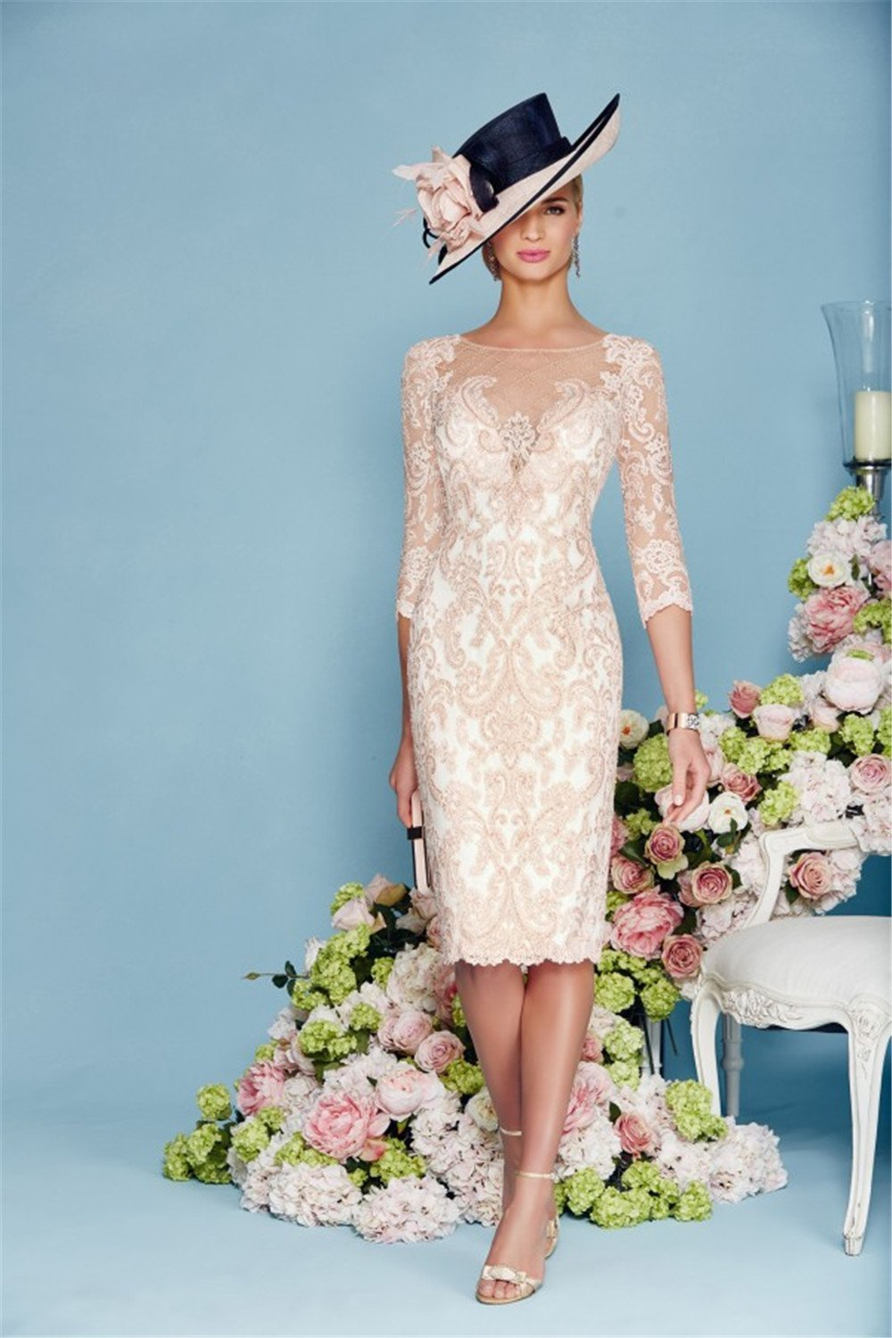 Light Pink Chiffon Lace Mother Of The Bride Dress Cute