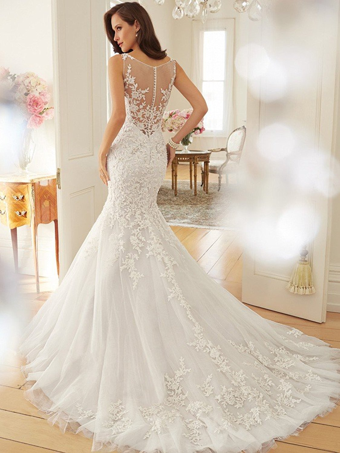 Scoop Appliques See Through Mermaid Bridal Gown Cute Dresses