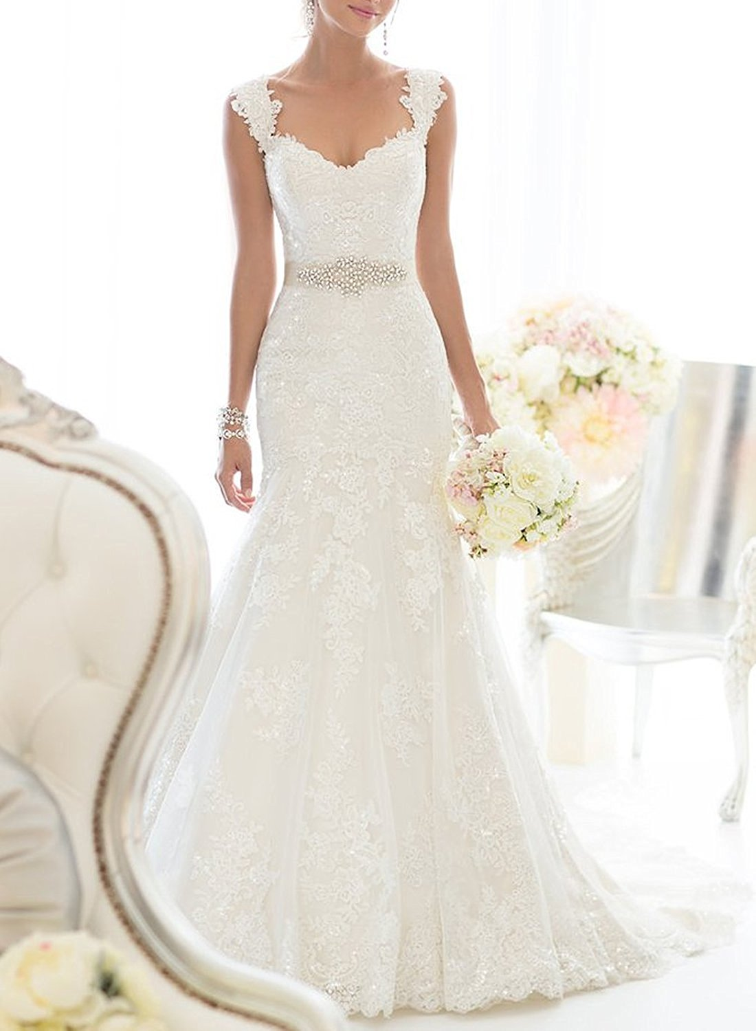 Elegant Off Shoulder Crystal Lace Wedding Dress