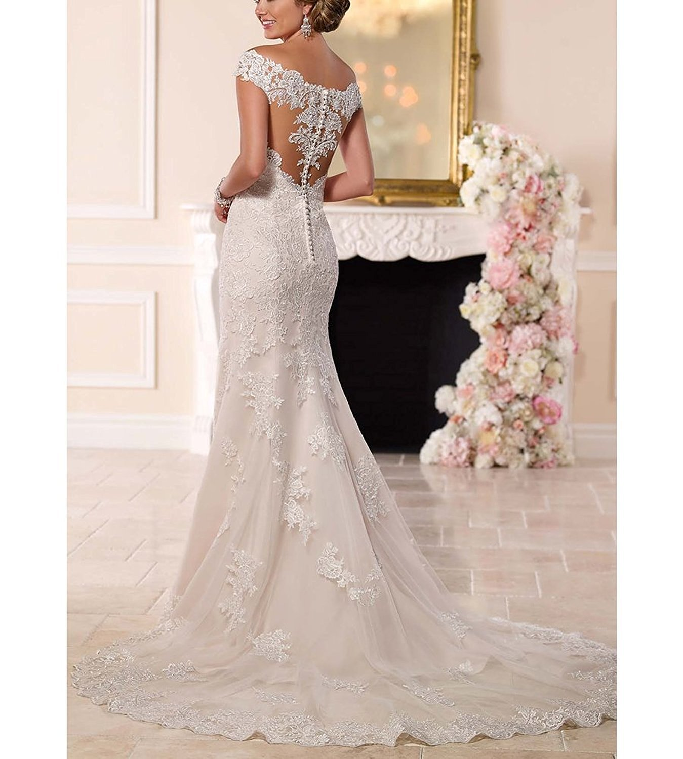 Sweetheart Off The Shoulder Mermaid Wedding Dress Cute