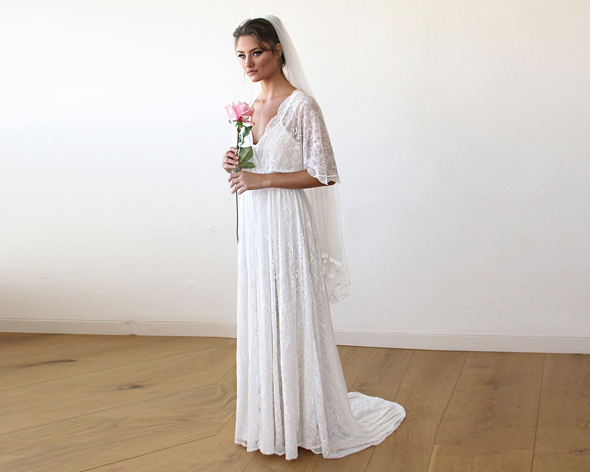 Floral lace ivory sheer maxi wedding dress with train for Lace maxi wedding dress