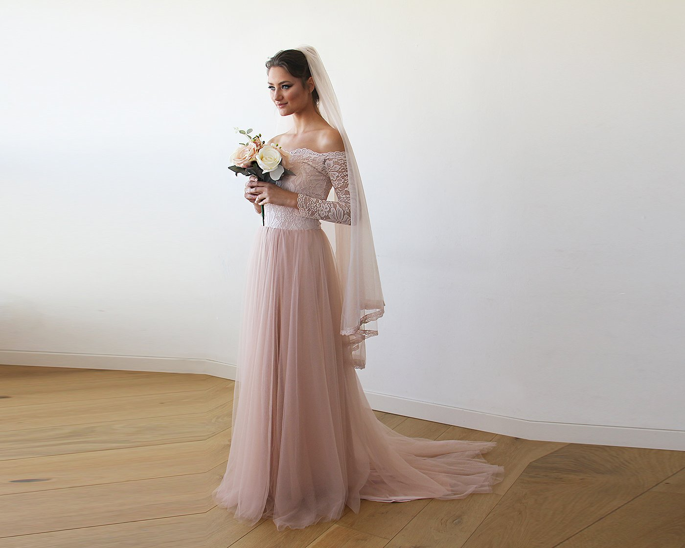 Pink Off-The-Shoulder Lace and Tulle Train Wedding Gown - Cute Dresses