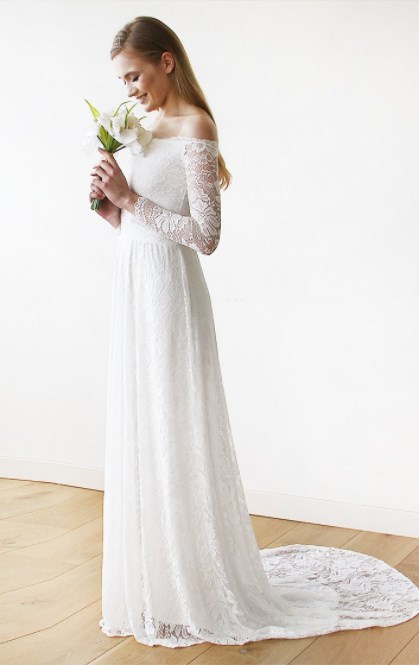 Off The Shoulder Wedding Dress Floral Lace Long Sleeve