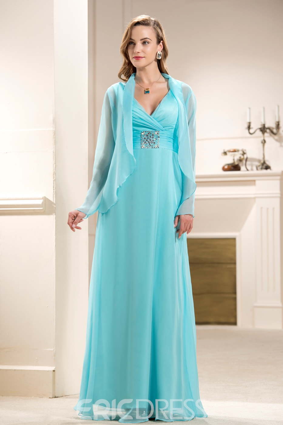 Attractive Beaded A Line V Neck Floor Length Empire