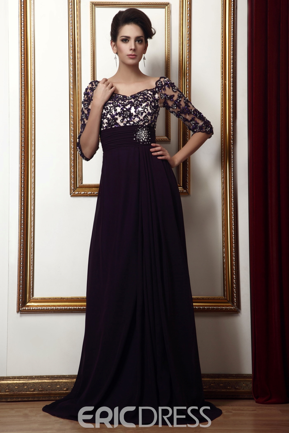 84c69366b1c Lace Empire Waist Off-the-Shoulder Long Talines Mother of the Bride ...