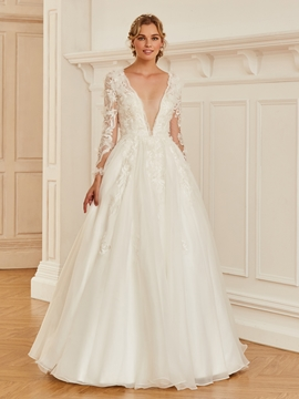cheap prices save up to 80% dirt cheap V Neck Long Sleeves Ball Gown Wedding Dress - Cute Dresses