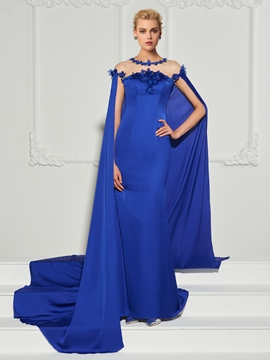 542a457ece5 Cute Scoop Neck Sequin Applique Mermaid Evening Dress With Cape Train -  Cute Dresses
