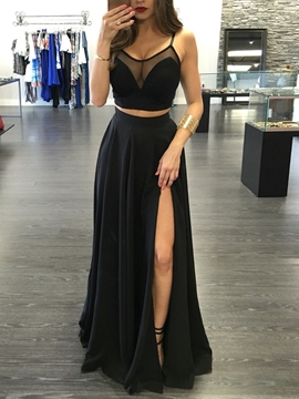 Cute Sexy Two Pieces Straps Side Slit Front Floor Length